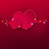 Vector festive background Valentine`s Day. Template for an invitation to a party. Red hearts with bright highlights Stock Photos