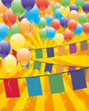 Vector festive banner. Balloons and flags Royalty Free Stock Image