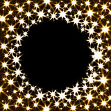 Vector Festive Banner with Shiny Stars and Round. Place for Text. Illustration of Magic Gold Glitter Firework Stock Photo