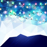 Vector festive blue background with luminous garlands. The  vector festive blue background with luminous garlands Stock Photo