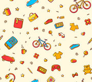 Vector festive bright seamless pattern with different sport, lei Stock Photo