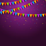 Vector festive card with confetti, party invitation design template. Festive celebration background.  Royalty Free Stock Image