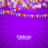 Vector festive card with confetti, party invitation. Festive celebration background.  Royalty Free Stock Photography