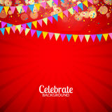 Vector festive card with confetti, party invitation. Festive celebration background.  Royalty Free Stock Images