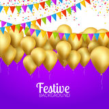 Vector festive card golden balloons and confetti, party invitation. Festive celebration background.  stock illustration