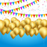 Vector festive card golden balloons and confetti, party invitation. Festive celebration background.  royalty free illustration