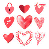 Vector festive collection of hearts Stock Photo