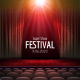 Vector Festive design with lights and wooden scene and seats. Poster for concert, party, theater, dance template. Wooden Stage with Curtains. Poster Template Stock Photos