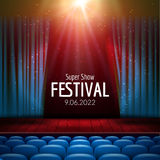 Vector Festive design with lights and wooden scene and seats. Poster for concert, party, theater, dance template. Wooden. Stage with Curtains. Poster Template Royalty Free Stock Photos