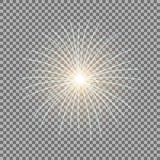 Vector festive firework, burst, golden color. Vector festive firework bursting on transparent background, light effect, golden color Stock Photo