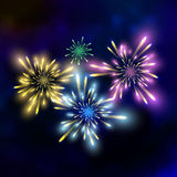 Vector festive fireworks. Illustration on dark background Royalty Free Stock Photo
