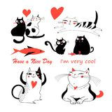 Vector festive funny set of enamored cute cats. On a white background. Templates for the design of books, the background for advertising stock illustration