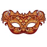 Festive golden mask. Vector festive golden mask for Venetian carnival and festivals, colorful bright masked mask mask decorated with floral patterns on a white Stock Photo