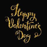 Vector festive handwritten inscription Happy Valentine s Day. Golden shiny letters. On a black background Royalty Free Stock Image