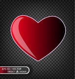 Vector Festive illustration of falling red heart. Vector Festive illustration of falling shiny red heart isolated on a transparent background Royalty Free Stock Image