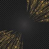 Vector festive illustration of falling shiny particles and stars isolated on transparent background. Golden Confetti Royalty Free Stock Photos