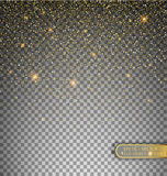 Vector festive illustration of falling shiny particles and stars isolated on transparent background. Golden Confetti Glitters. Spa. Rkling texture. Holiday Stock Photography