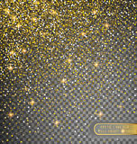 Vector festive illustration of falling shiny particles and stars  on transparent background. Golden Confetti Glitters. Sparkling texture. Holiday Decorative Royalty Free Stock Image