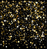 Vector festive illustration of falling stars. Vector festive illustration of falling shiny particles and stars isolated on transparent background. Golden Royalty Free Stock Photos