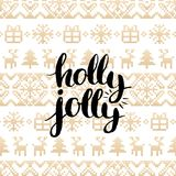Vector festive knitted seamless pattern with lettering Holly Jolly. Gold Christmas or New Year texture. Vector festive knitted seamless pattern with lettering Stock Image