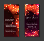 Vector festive leaflets, flyers, brochure template. With luxurious glowing red hearts, sparks and place for text for your design Stock Photo