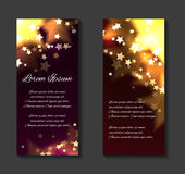 Vector festive leaflets, flyers, brochure template. With luxurious gold stars and sparks and place for text for your design Stock Image