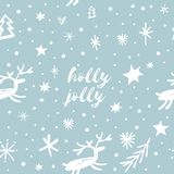 Vector festive pattern, ornament, wallpaper, wrapping paper, funny deers on dark background stock illustration