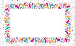 Vector festive rectangular frame with ornament of multicolor drops. For carnival festivals design, themes love, children royalty free illustration