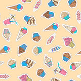 Vector festive seamless pattern. Ice-cream, firework, drink, muffin and cupcake. Various patches, stickers, embroidery and sticky labels. 80s-90s style design Royalty Free Stock Photos