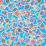 Vector festive seamless pattern. Various gift, muffin and cupcake sticky labels on bright blue background. 80s-90s style design Stock Images