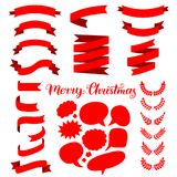Vector festive set of red ribbons, speech bubbles and wreathes with Merry Christmas lettering. Nativity or New Year templates collection for greeting cards Royalty Free Stock Photo
