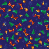 Vector festive simles pattern with bows and Christmas trees. Vector festive csimles with snowflakes, Christmas trees and Christmas balls Royalty Free Stock Images
