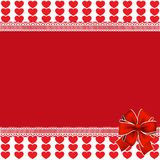 Vector festive template with hearts stripes, lace and festive bo. Vector festive template with space for text  on red and white background with red hearts Royalty Free Stock Images