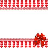 Vector festive template with  red hearts stripes, lace, bow and. Space for text  on white background. Love border, valentines, wedding or birthday background Royalty Free Stock Images