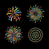Vector festivo colorido de diversas formas del fuego artificial Fotografía de archivo