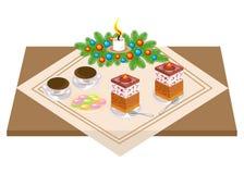 Vector festivo Torta y t? deliciosos, coffe Un ramo de la Navidad de un ?rbol de navidad y de una vela da un humor rom?ntico Vect ilustración del vector