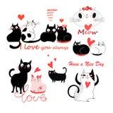 Vector festlichen lustigen Satz bezauberte nette Katzen Stockfotografie