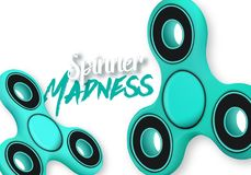 Vector Fidget Spinner Gadget Icon. Realistic Spinning Toy Hand Spinner  with Spinner Madness Lettering. Illustration of Vector Fidget Spinner Gadget Icon Royalty Free Stock Photography