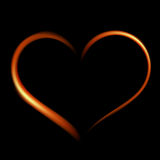 Fiery heart on a black background. Royalty Free Stock Photo