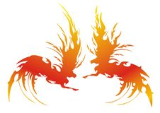 Vector fiery symbol of a horse. The symbolical image of fire. Vector illustration Stock Images