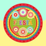 Fiesta postcard, text, abstract flower, frame. Vector fiesta postcard with abstract ornate flowers and colorful decorative text in circle frame. Event vector Stock Images