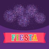 Fiesta postcard, bright fireworks, text on ribbon. Vector fiesta postcard with bright fireworks and colorful text on flat ribbon. Event vector illustration Stock Image