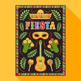Fiesta postcard, cactus, sombrero, maraca, guitar stock illustration