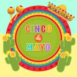 Fiesta postcard, cactus, sombrero, maraca, text. Vector fiesta postcard with icons of blossom cactus, sombrero, maraca, paper fan and decorative text in circle Royalty Free Stock Images