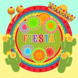 Fiesta postcard, cactus, sombrero, maraca, text. Vector fiesta postcard with icons of blossom cactus, sombrero, maraca, paper fan and decorative text in circle Royalty Free Stock Photography