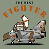 Vector of fighter jet cartoon with funny pilot. Animal pilot on fighter jet. Vector cartoon illustration, no mesh, vector on eps 10 Stock Photos