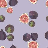 Vector figs pattern. Vector seamless pattern of a violet ripe figs Vector Illustration