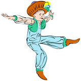 Vector figures a dancing little boy in eastern costume. With turban Stock Images