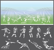 Vector figures of football players with stadium on background Stock Photos