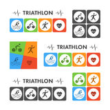 Vector figures triathletes on white background. Stock Photography